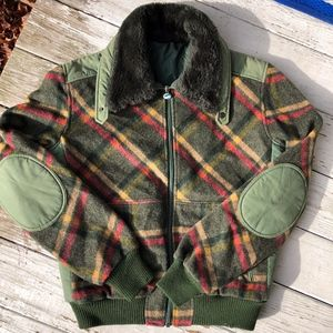 SAMAS  plaid wool vintage coat/plush neck lining